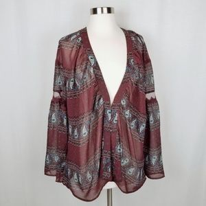 Tobi paisley print bell sleeve top size small